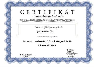Diplom Memoriál Mudr. Josefa Podmolíka v 1⁄2 maratonu